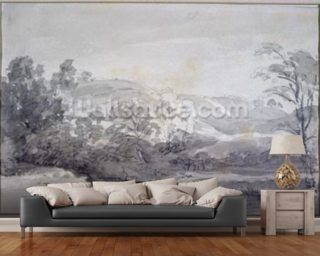 A View in Derbyshire (monochrome watercolour) wall mural