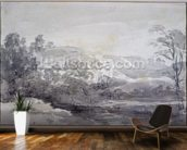 A View in Derbyshire (monochrome watercolour) wall mural kitchen preview