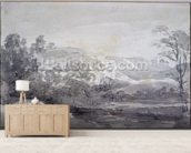 A View in Derbyshire (monochrome watercolour) wall mural living room preview
