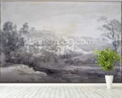 A View in Derbyshire (monochrome watercolour) wall mural in-room view
