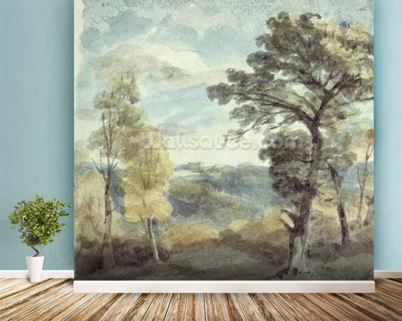 Landscape with Trees and a Distant Mansion (watercolour) mural wallpaper room setting