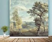 Landscape with Trees and a Distant Mansion (watercolour) mural wallpaper in-room view
