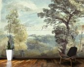 Landscape with Trees and a Distant Mansion (watercolour) mural wallpaper kitchen preview