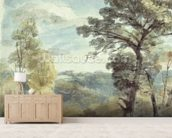 Landscape with Trees and a Distant Mansion (watercolour) mural wallpaper living room preview