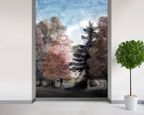 Study of Trees in a Park (watercolour) wall mural room setting