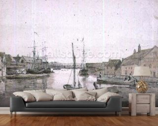 Warehouses and Shipping on the Orewell at Ipswich Wallpaper Wall Murals