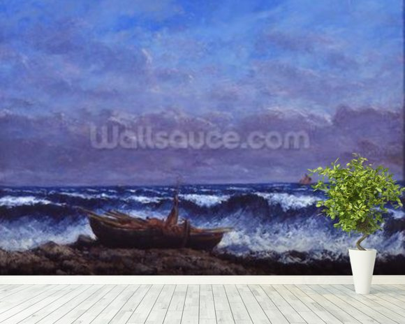 The Stormy Sea or, The Wave (oil on canvas) mural wallpaper room setting