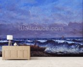 The Stormy Sea or, The Wave (oil on canvas) mural wallpaper living room preview