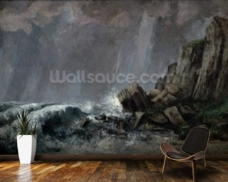 Downpour at Etretat (oil on canvas) wall mural