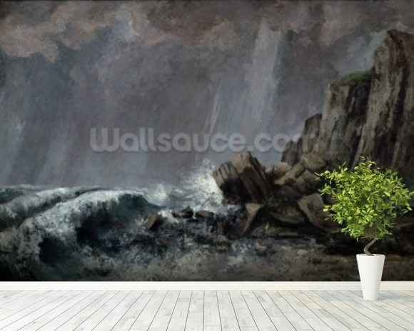 Downpour at Etretat (oil on canvas) wall mural room setting