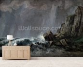 Downpour at Etretat (oil on canvas) wall mural living room preview