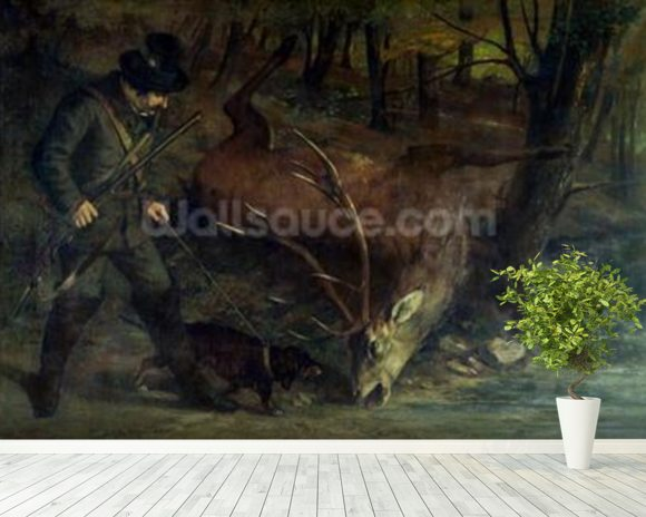 The Death of the Stag, 1859 (oil on canvas) wallpaper mural room setting