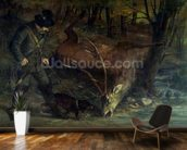 The Death of the Stag, 1859 (oil on canvas) wallpaper mural kitchen preview