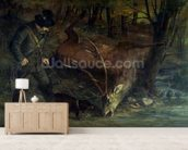 The Death of the Stag, 1859 (oil on canvas) wallpaper mural living room preview