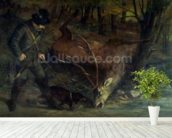 The Death of the Stag, 1859 (oil on canvas) wallpaper mural in-room view