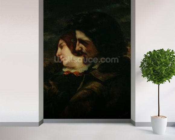 The Lovers in the Countryside, after 1844 (oil on canvas) mural wallpaper room setting