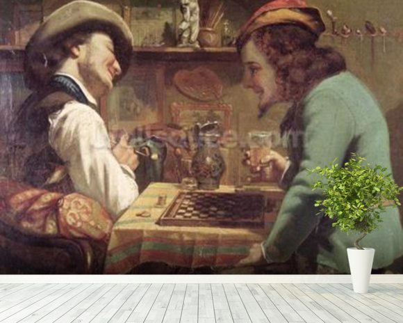 The Game of Draughts, 1844 (oil on canvas) wallpaper mural room setting