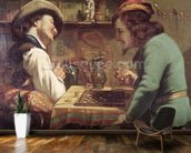 The Game of Draughts, 1844 (oil on canvas) wallpaper mural kitchen preview
