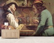 The Game of Draughts, 1844 (oil on canvas) wallpaper mural living room preview