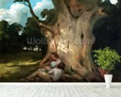 The Large Oak (oil on canvas) mural wallpaper in-room view