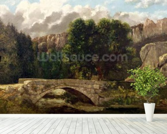 The Pont de Fleurie, Switzerland, 1873 (oil on canvas) wall mural room setting