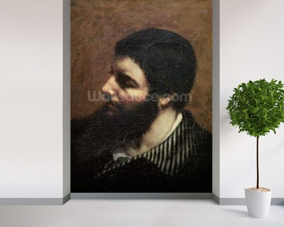 Self Portrait with Striped Collar (oil on canvas) wallpaper mural room setting