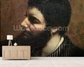 Self Portrait with Striped Collar (oil on canvas) wallpaper mural living room preview