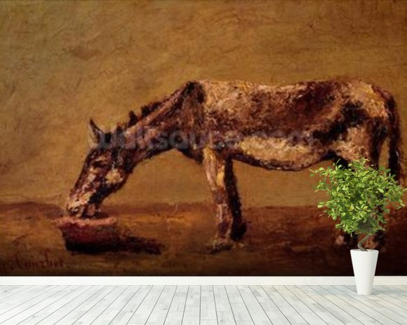 The Donkey (oil on canvas) mural wallpaper room setting