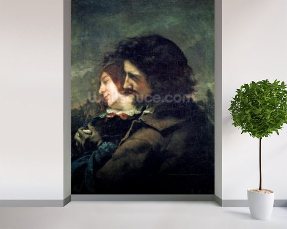 The Happy Lovers, 1844 (oil on canvas) wallpaper mural room setting