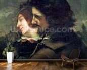 The Happy Lovers, 1844 (oil on canvas) wallpaper mural kitchen preview