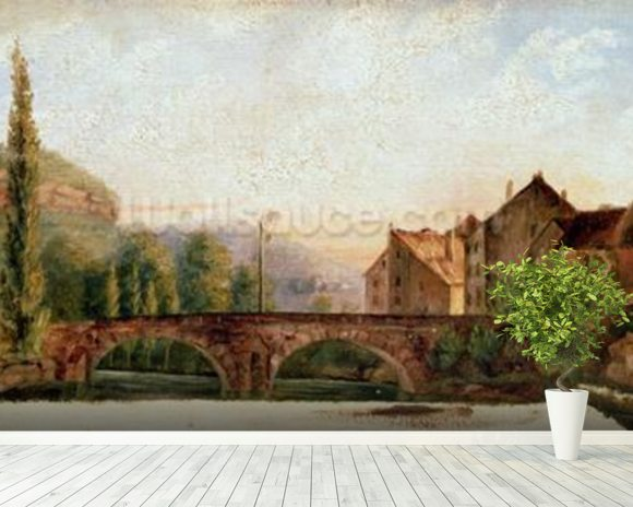 The Pont de Nahin at Ornans, c.1837 (oil on canvas) mural wallpaper room setting