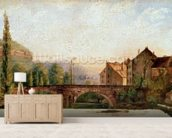 The Pont de Nahin at Ornans, c.1837 (oil on canvas) mural wallpaper living room preview