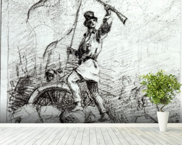 The Barricade (pencil on paper) (b/w photo) wallpaper mural room setting