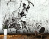 The Barricade (pencil on paper) (b/w photo) wallpaper mural kitchen preview