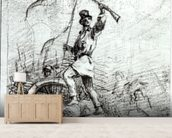 The Barricade (pencil on paper) (b/w photo) wallpaper mural living room preview