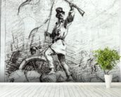The Barricade (pencil on paper) (b/w photo) wallpaper mural in-room view