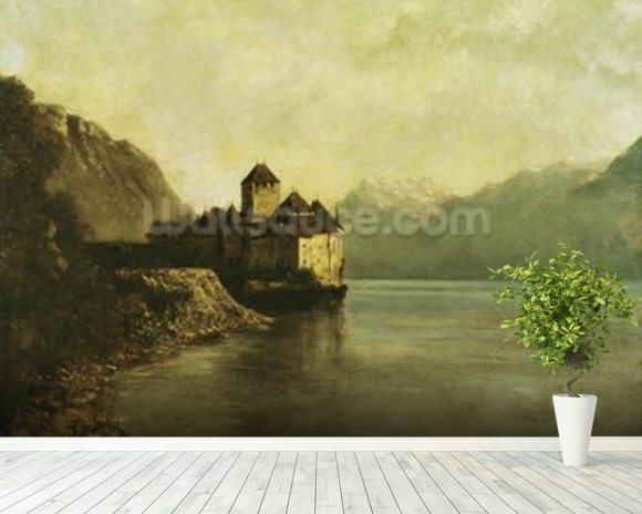 Chateau de Chillon, 1874 (oil on canvas) mural wallpaper room setting