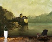 Chateau de Chillon, 1874 (oil on canvas) mural wallpaper kitchen preview