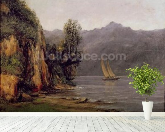 Vue du Lac Leman, c.1873-77 (oil on canvas) mural wallpaper room setting