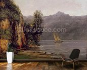 Vue du Lac Leman, c.1873-77 (oil on canvas) mural wallpaper kitchen preview