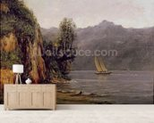 Vue du Lac Leman, c.1873-77 (oil on canvas) mural wallpaper living room preview