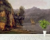 Vue du Lac Leman, c.1873-77 (oil on canvas) mural wallpaper in-room view