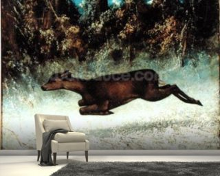 Leaping Doe (oil on canvas) wallpaper mural