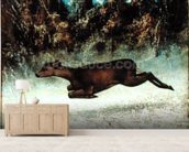 Leaping Doe (oil on canvas) wallpaper mural living room preview