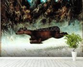 Leaping Doe (oil on canvas) wallpaper mural in-room view