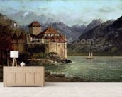 The Chateau de Chillon, 1875 (oil on canvas) mural wallpaper living room preview