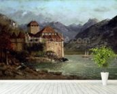 The Chateau de Chillon, 1875 (oil on canvas) mural wallpaper in-room view