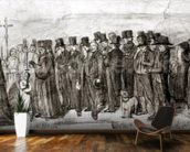 Study for Burial at Ornans, 1849 (charcoal on paper) (b/w photo) mural wallpaper kitchen preview