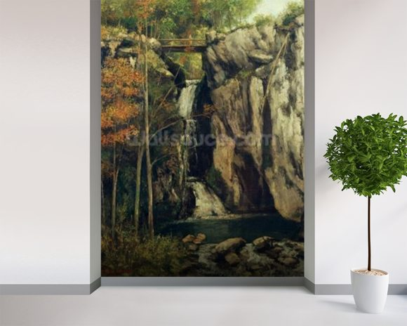 The Chasm at Conches, 1864 (oil on canvas) wallpaper mural room setting