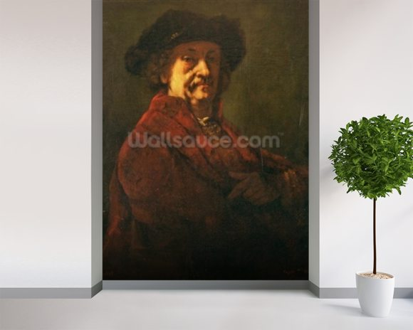 Copy of a Rembrandt Self Portrait, 1869 (oil on canvas) wall mural room setting